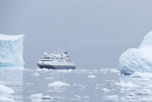 Our ship among the icebergs