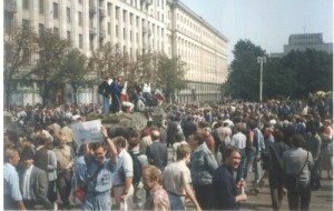 Crowds wandering aimlessly in downtown Moscow - a revolution in slow motion.