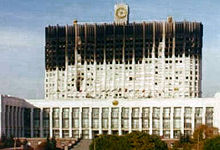 The Russian White House in September 1993. On this occasion it did not end peacefully and the White House was attacked with tanks.