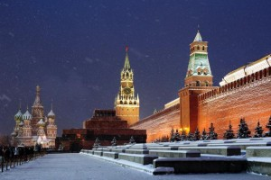 Saint Basil's Cathedral at night, Red square, Moscow, Russia