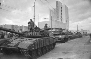 Soviet tanks prowling the streets of Vilnius, Lithuania in January 1990.