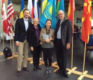 Art, Leona, son-in-law Peter Tielmann and a young woman from Kazakhstan who is the President of the LCC Student Council.