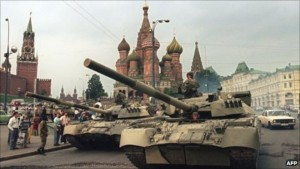 Tanks surrounded the Kremlin waiting for instructions.