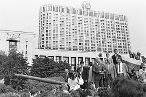 Yeltsin addressing crowds inside the barricades protecting the Russian White House.