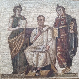 Mosaic of the poet Virgil flanked by the muses Poetry and Eloquence. This mosaic is considered the Mona Lisa of the mosaic world.