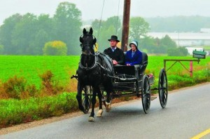 Amish couple riding in style