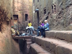 Leona visiting Lalibela churches
